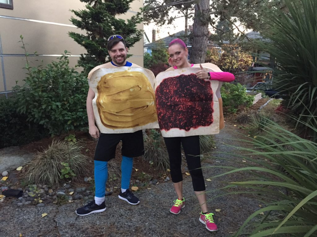 halloween 5k, running costume, peanut butter and jelly costume