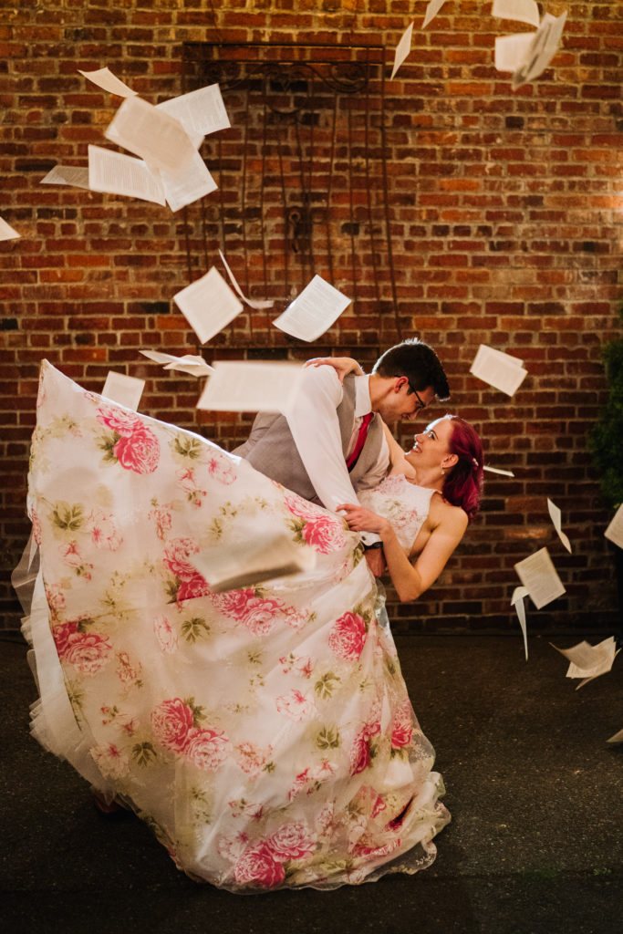 slow motion book pages wedding picture