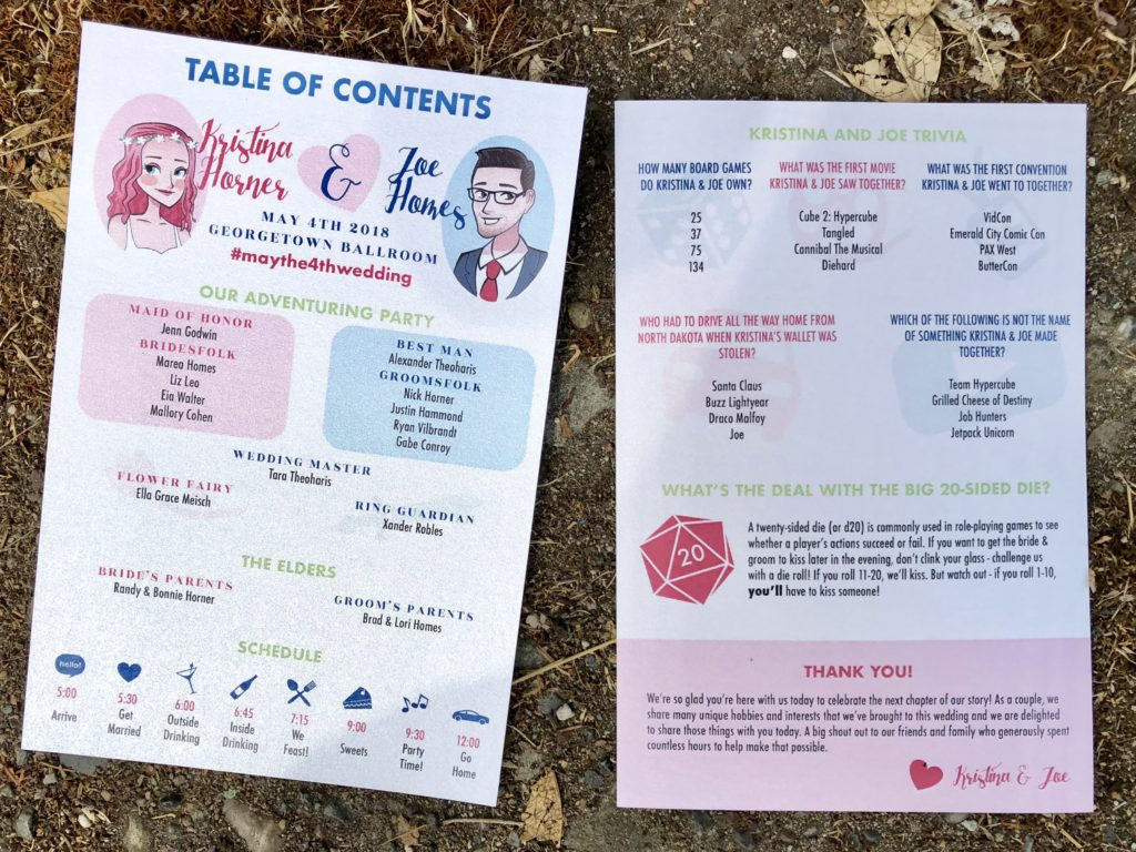 fun and nerdy wedding programs